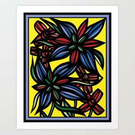 Blithe Flowers Yellow Red Blue Art Print