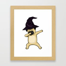 Dabbing Pug Witch Halloween Framed Art Print