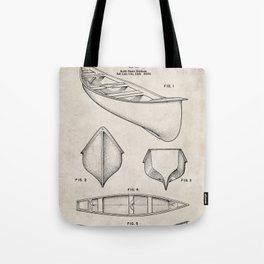 Canoe Patent - Kayak Art - Antique Tote Bag