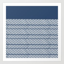 Herringbone Boarder Navy Art Print