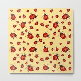 """I LOVE RED LADY BUGS"" ON CREAM COLOR Metal Print"
