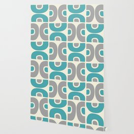 Funky Mid Century Modern Pattern 554 Gray and Turquoise Wallpaper