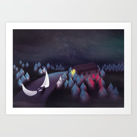 Gravity (Moon in the River) Art Print