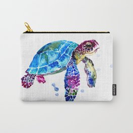 Sea Turtle, Blue Purple Turtle illustration, Sea Turtle design Carry-All Pouch
