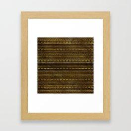 Golden Tribal Pattern on Dark wood Framed Art Print