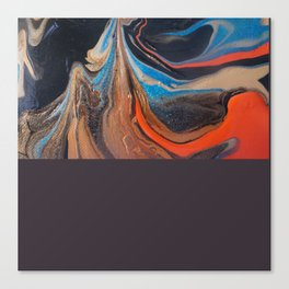 Abstract Painting Black Orange Gold Canvas Print
