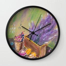Still life. Breakfast with lavender flower Wall Clock