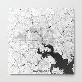 Baltimore Map Gray Metal Print