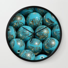 Chinese Porcelain Beads In Blue Wall Clock