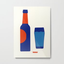 Bottle And Glas Metal Print