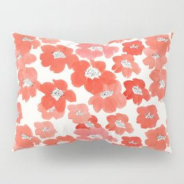 Camellia Flowers in Red Pillow Sham