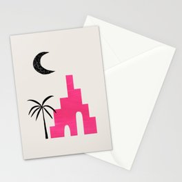Magenta Minimalist Mid Century Ancient Ruins Paper Collage Moon Lit Palm Tree by Ejaaz Haniff Stationery Cards