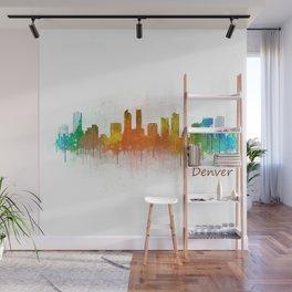 Denver Colorado City Watercolor Skyline Hq v3 Wall Mural