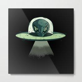 Ufo Alien Ufos Spaceship Funny Metal Print