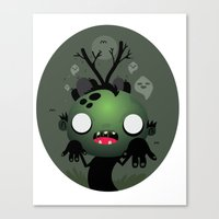 zombie Canvas Prints featuring Zombie by Maria Jose Da Luz