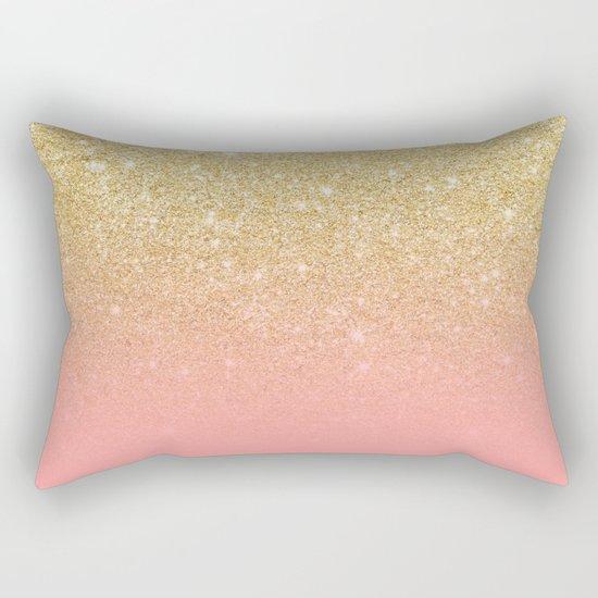 Modern gold ombre pink color block Rectangular Pillow