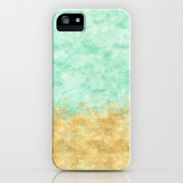 Pretty Mint Gold Glam Watercolor iPhone Case