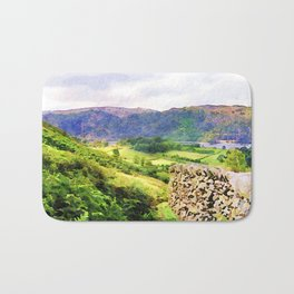 Dry stone wall overlooking a valley, Lake District, UK. Watercolour painting. Bath Mat