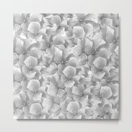 Elegant gray white hand painted watercolor floral Metal Print