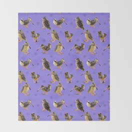 Purple Polka-Dotted Peents Throw Blanket