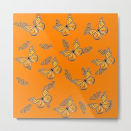 ABSTRACT GREY MONARCH BUTTERFLIES ON ORANGE Metal Print