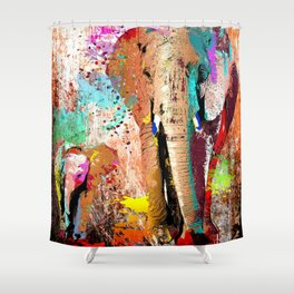 African Elephant Family Painting Shower Curtain