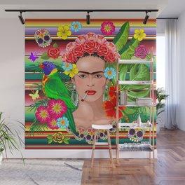 Frida Kahlo Floral Exotic Portrait Wall Mural