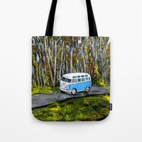 vw bus Tote Bags featuring VW Bus by ThisArtToBeYours