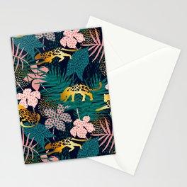 GOLD LEOPARD JUNGLE PATTERN Stationery Cards