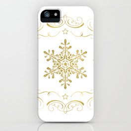 Ornate Golden Snowflakes iPhone Case