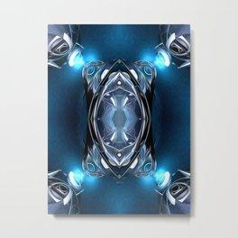 Blue Lights On Metal Metal Print