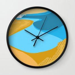 Orange blue waves Wall Clock