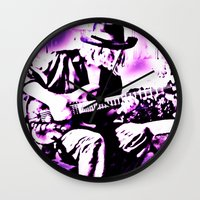 rock and roll Wall Clocks featuring Rock N' Roll Gypsy by Jussi Lovewell
