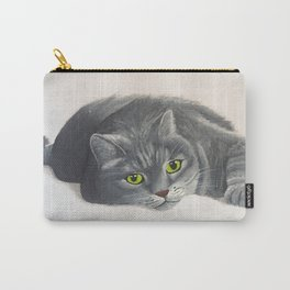 Grey Cat Painting Carry-All Pouch