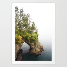 Cape Flattery Arch Ocean Rock Geology Washington Cliff Hiking Forest Trees Art Print