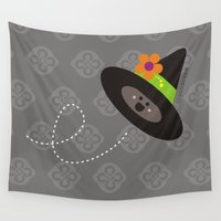 hat Wall Tapestries featuring Witched Hat by Zona C' by Ceci Pantin