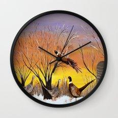 Pheasants in the sunrise Wall Clock