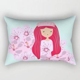 Girl on flowers Rectangular Pillow