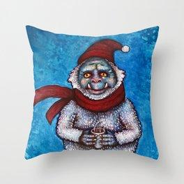 Holiday Abominable Snowman Yeti Throw Pillow