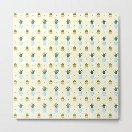 Pastel yellow brown green cactus floral dots summer pattern Metal Print