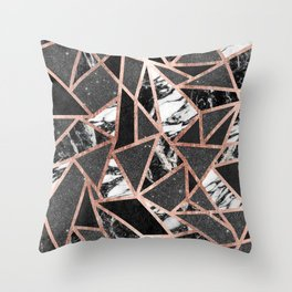 Modern Rose Gold Glitter Marble Geometric Triangle Throw Pillow
