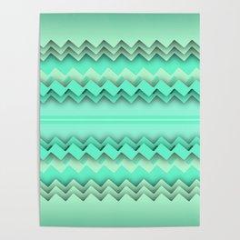 Mint paper zigzag Poster
