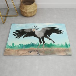 The Secretary Bird and the Snake - African Wildlife Creatures Rug