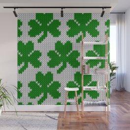 Shamrock pattern - white, green Wall Mural