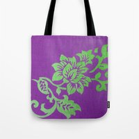 floral pattern Tote Bags featuring Floral Pattern by Marjolein