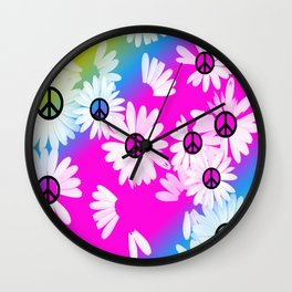 Flower Power Hippie Wall Clock