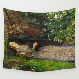 Ophelia Brick Wall Painting by Sir John Everett Millais Wall Tapestry