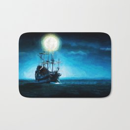 The Flying Dutchman Under The Moon - Painting Style Bath Mat