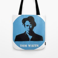 tom waits Tote Bags featuring Tom Waits Record Painting by All Surfaces Design