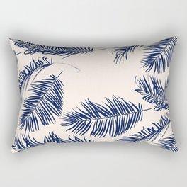 Blue Palm Leaves Pattern Rectangular Pillow